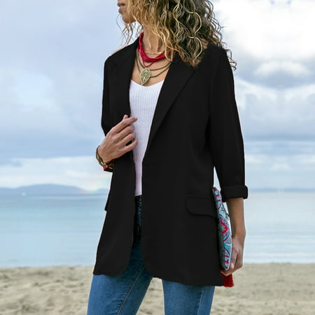 Women Solid Blazer Notched Lapel Collar Open Front Long Sleeves Office Casual Business Suit Thin Overcoat Outwear