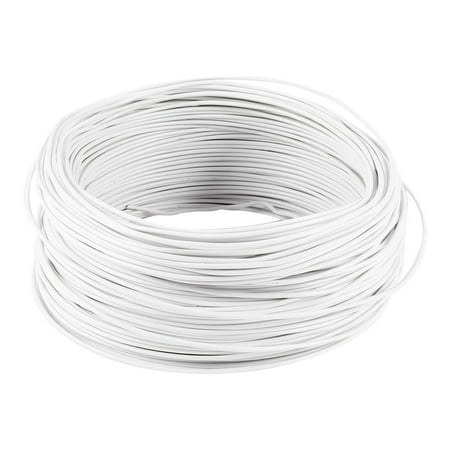 Unique Bargains PVC Coated Electro Galvanized 0.75mm Dia Iron Tie Wire White 100M