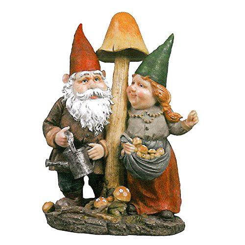 Park Avenue Collection Mushroom Hunters Gnome Statue