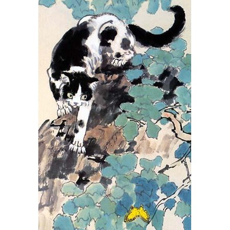 A watercolor painting from a vintage Chinese scroll showing a cat chasing a yellow butterfly among the leaves Poster Print by Xu Beihong