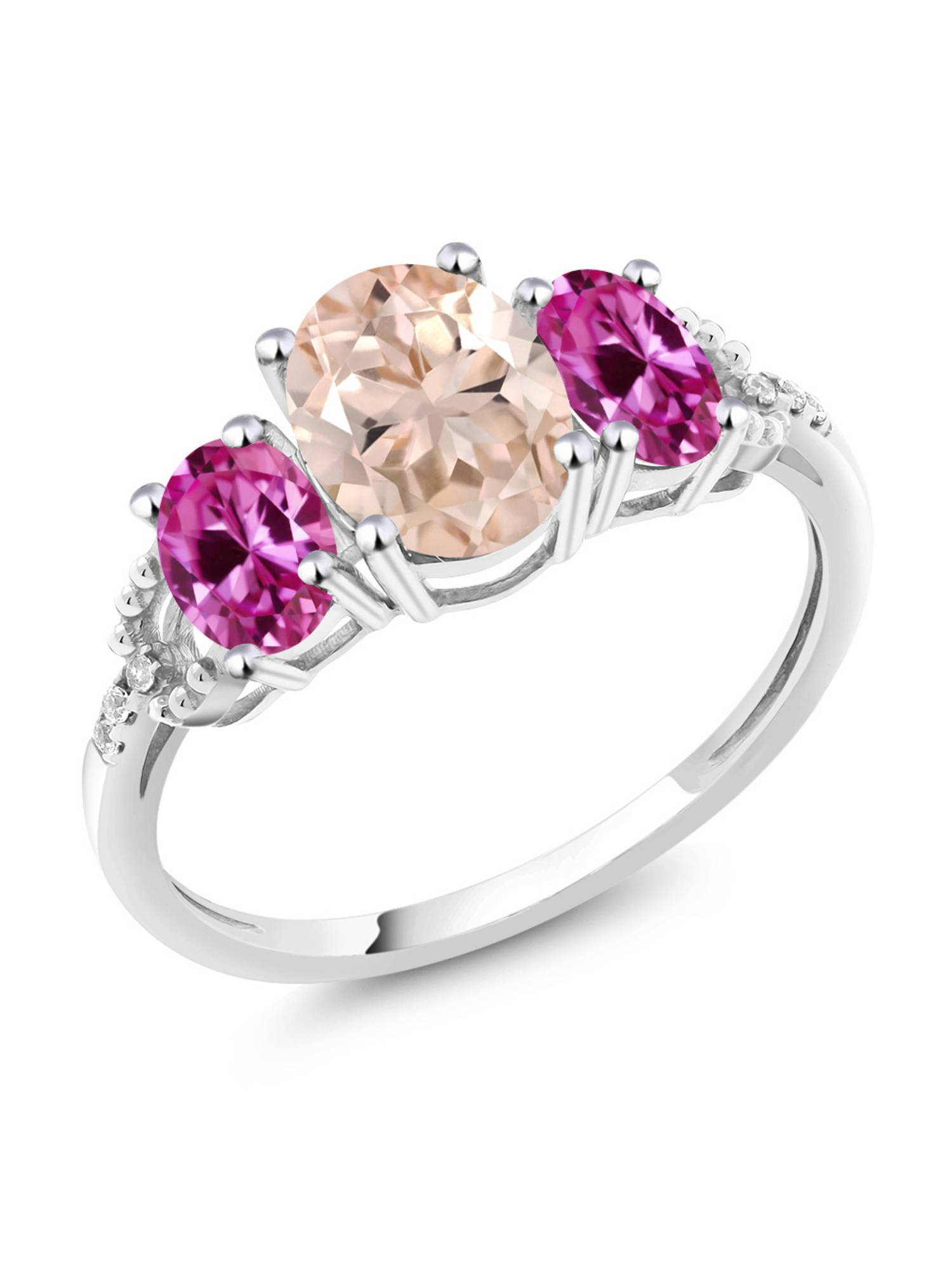 10K White Gold Diamond Accent Three-Stone Engagement Ring set with 2.05 Ct Peach Morganite Pink Created Sapphire by