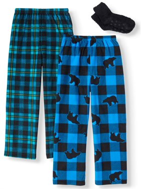 Mad Dog Micro Fleece Pajama Sleep Pants, 2-Pack with Slipper Sock GWP (Little Boys and Big Boys)