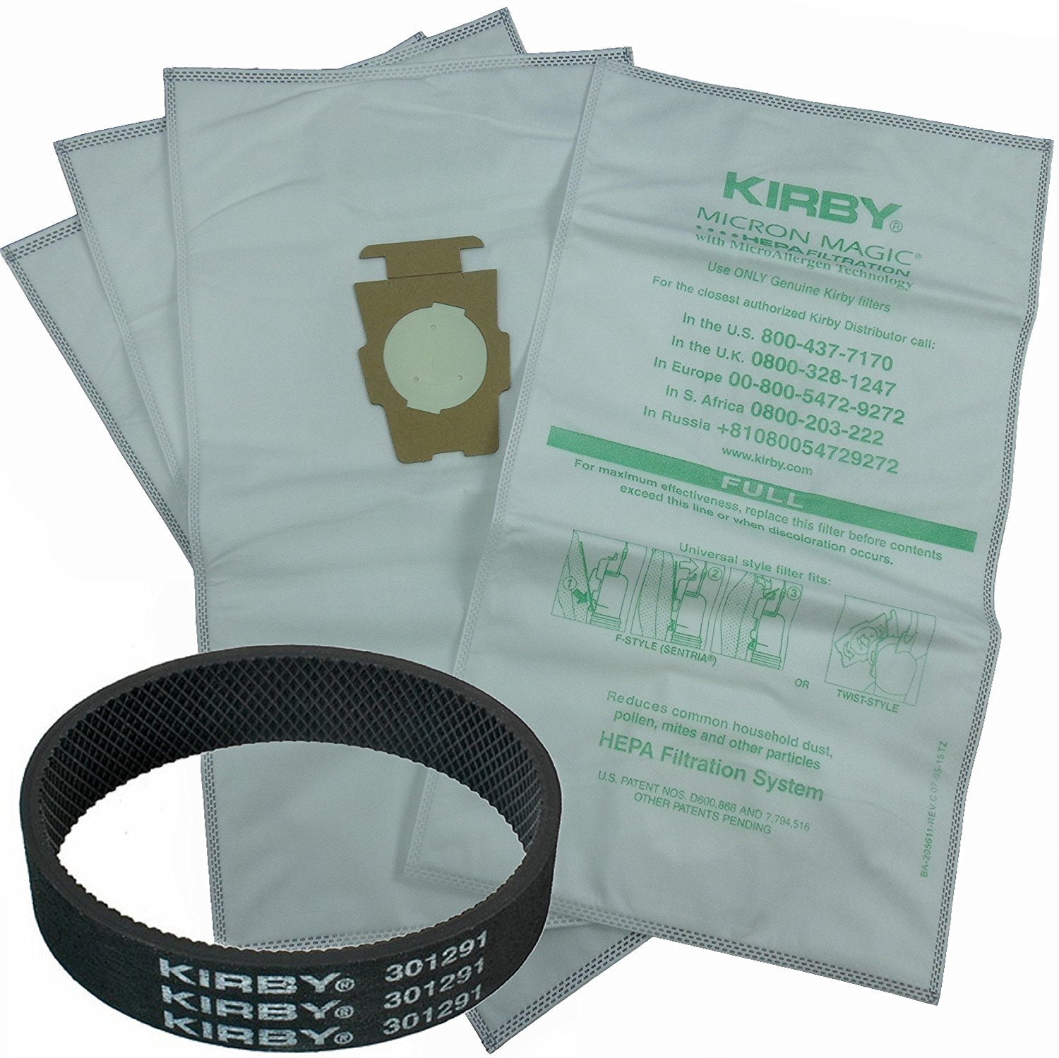 4 Allergen Micron Magic Universal F Style Turn Style Vacuum Bags & 1 Belt, Genuine Kirby Allergen Vacuum Cleaner Bags plus OEM 301291 Belt By Kirby