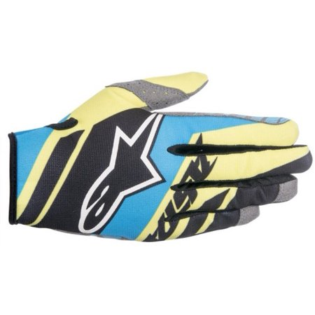Alpinestars Racer Supermatic Gloves (Black/Blue/Fluorescent Yellow, Large) Black | Blue | Yellow