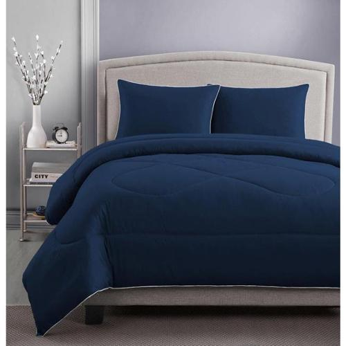 RBX 3-piece Microfiber Solid Color Comforter and Sham Set Full/Queen Navy