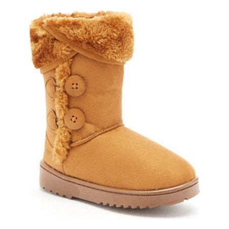 Emerson Girls Camel Faux Fur Fold Over Cuff Ugg Inspired Boots (Faux Fur Boot Cuffs)