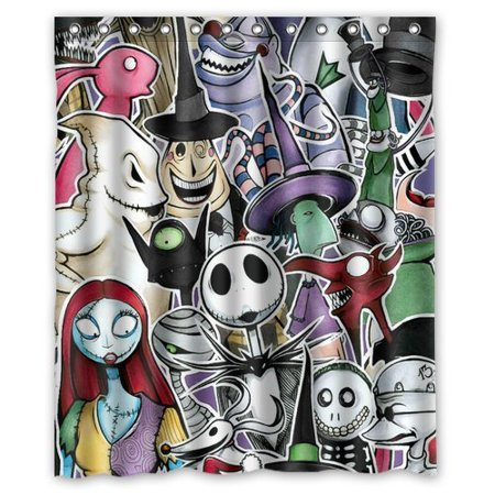 deyou the nightmare before christmas shower curtain polyester fabric bathroom shower curtain size 60x72 inch - Nightmare Before Christmas Bathroom