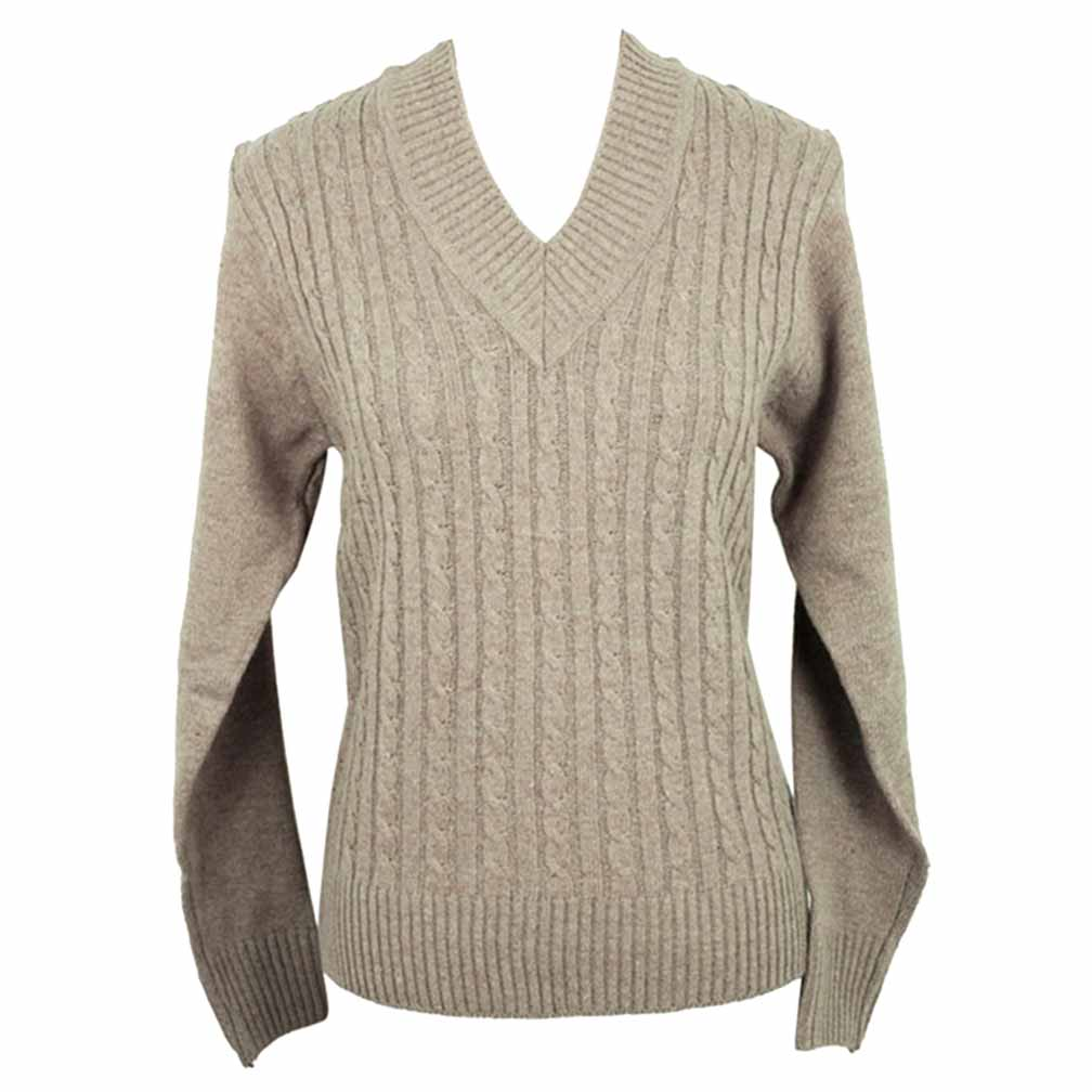 V-Neck Long Sleeve Cable Knit Sweater