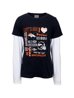 Product Image Denver Broncos - Rhinestone Spirit Girls Youth 2fer Long Sleeve  T-Shirt 98983c835