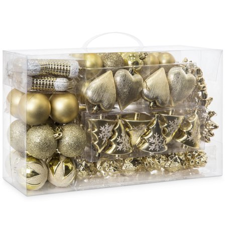 Best Choice Products Set of 72 Shatterproof Handcrafted Assorted Hanging Christmas Ornaments with Embossed Glitter Design, Gold (Hanging Ornament Set)