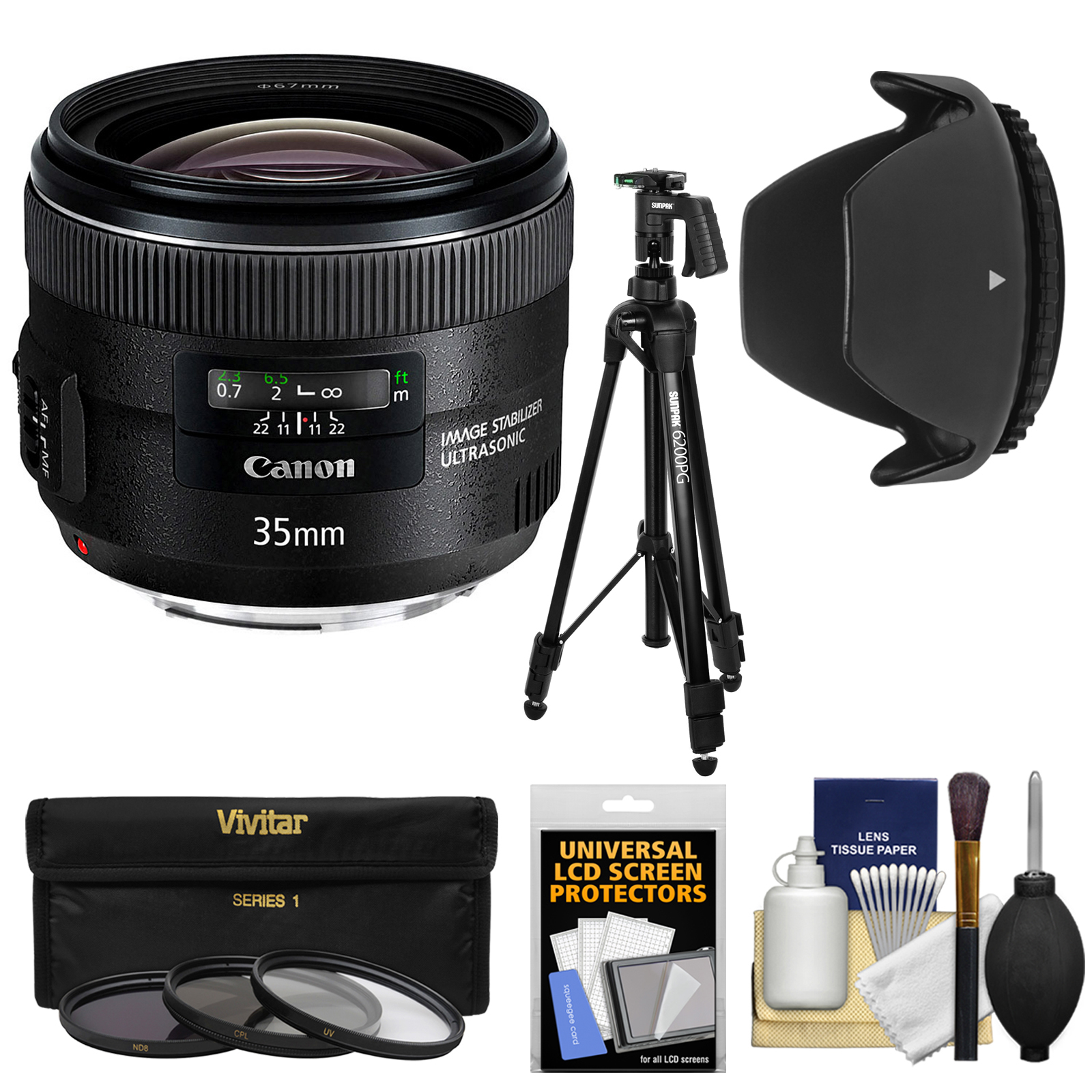 canon ef 35mm f/2 is usm lens with tripod + 3 filters