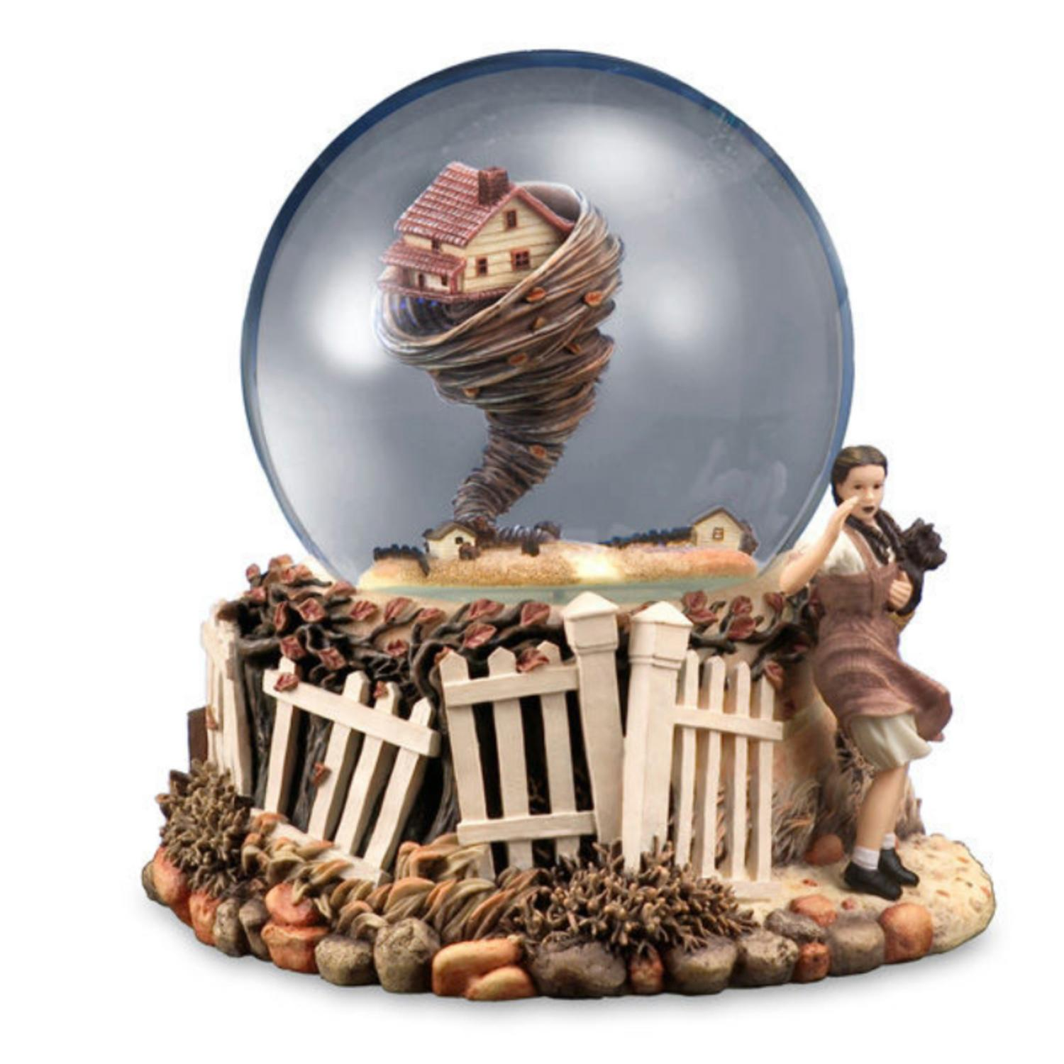 "6.75"" Musical Rotating Tornado Wizard of Oz �������It Really Was No Miracle"" Water Globe"