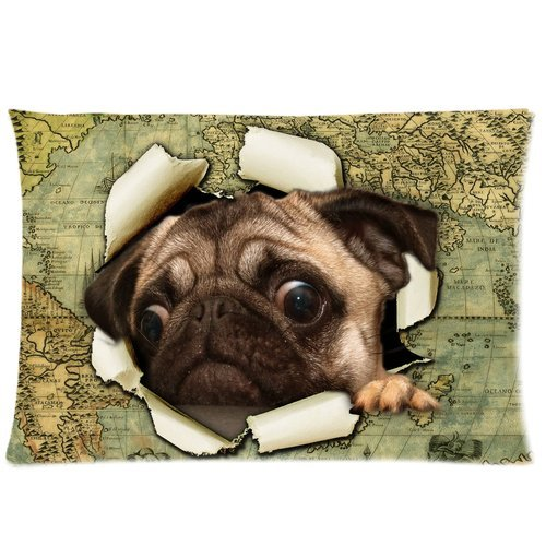 ZKGK Sailor Puppy Pug Dog Vintage World Map Pillowcase Standard Size 20 x 30 Inches for Couch Bed,Cute Pug Dog Climbing out of Vintage World Map Pillow Cases Cover Set Pet Shams Decorative
