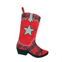 product image 185 country rustic red and black plaid cowboy boot christmas stocking