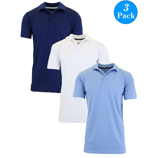 Men's Dry Fit Moisture-Wicking Polo Shirt (3-Pack)