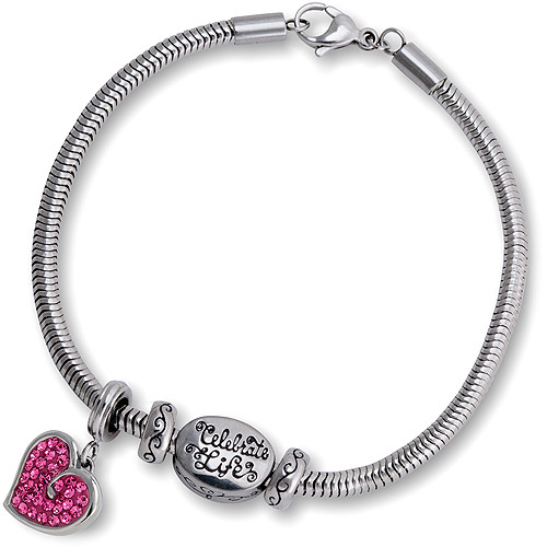 "Connections from Hallmark Crystal Heart Charm and Stainless Steel ""Celebrate Life"" Bracelet Set, 7.75"""
