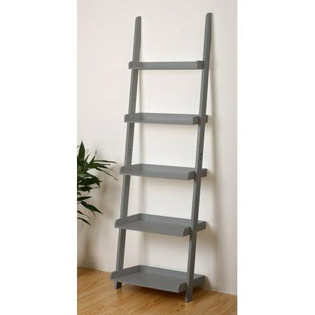 5 Tier Ladder - 5 Tier Leaning Wall Ladder Bookcase Shelf in Grey