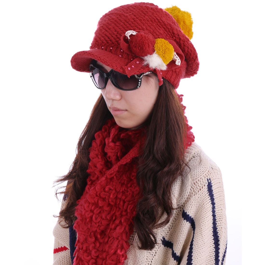 Women's Pom Pom Winter Hat & Hollow Out Wool Scarf Red