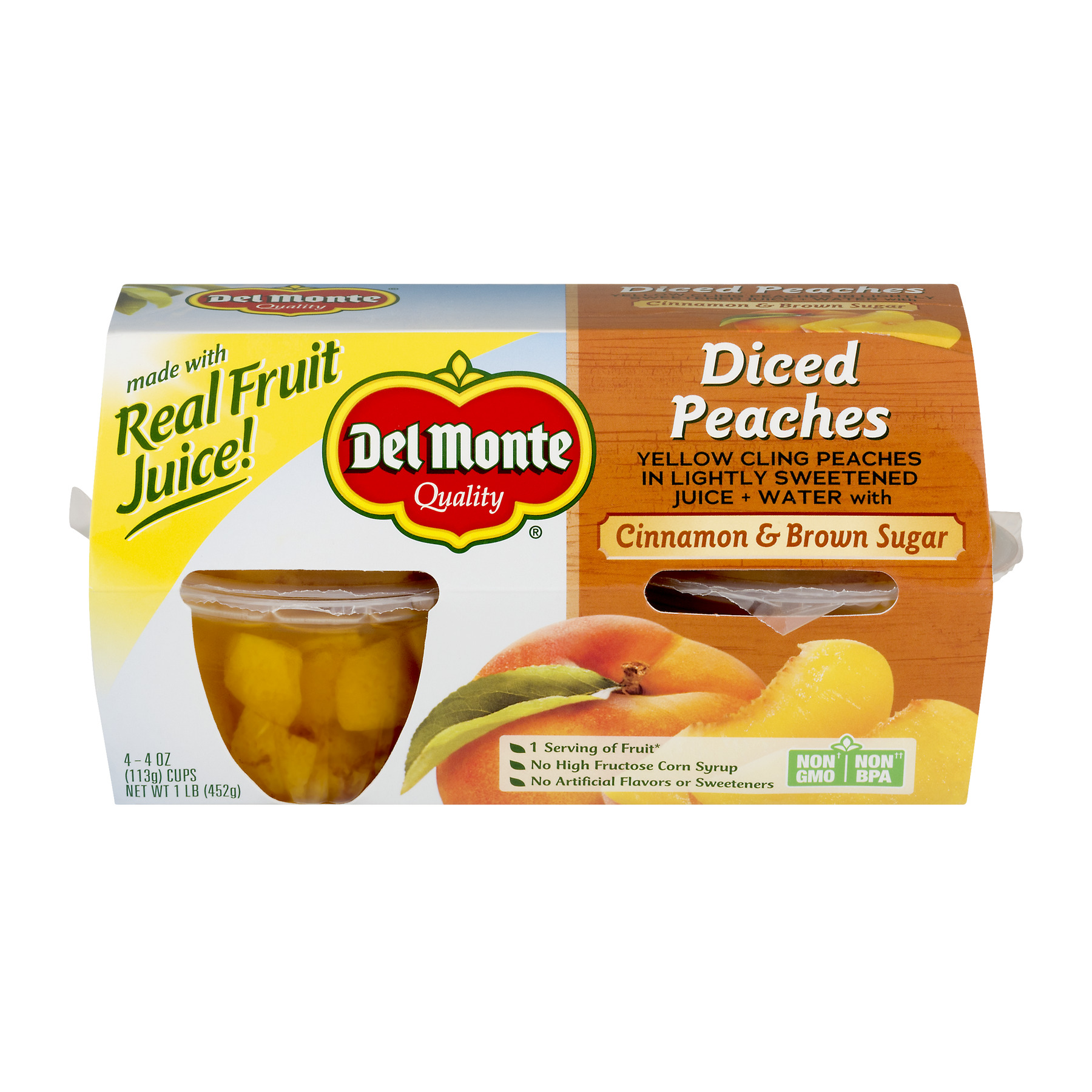 Del Monte Cinnamon & Brown Sugar Diced Peaches, 4 oz Cup, 4 Count Box