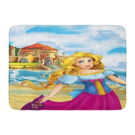 GODPOK Anime Alive Cartoon Scene with Princess in Front of Big Beautiful Castle for Children Amusement Rug Doormat Bath Mat 23.6x15.7