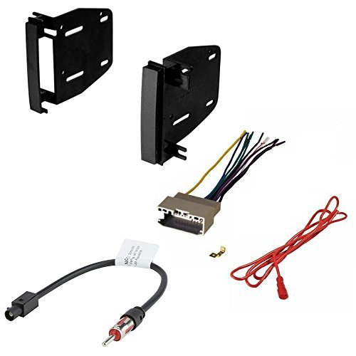 dodge 2008 - 2013 challenger car cd stereo receiver dash install mounting kit wire harness and radio antenna adapter