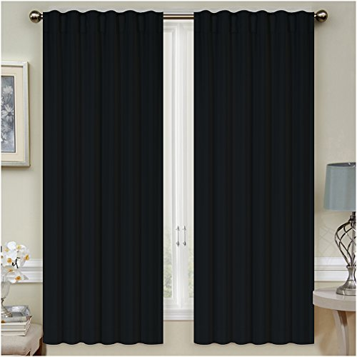 Mellanni Thermal Insulated Blackout Curtains 1 Panel Window Treatments   Drapes for Bedroom, Living Room with Silver... by Mellanni