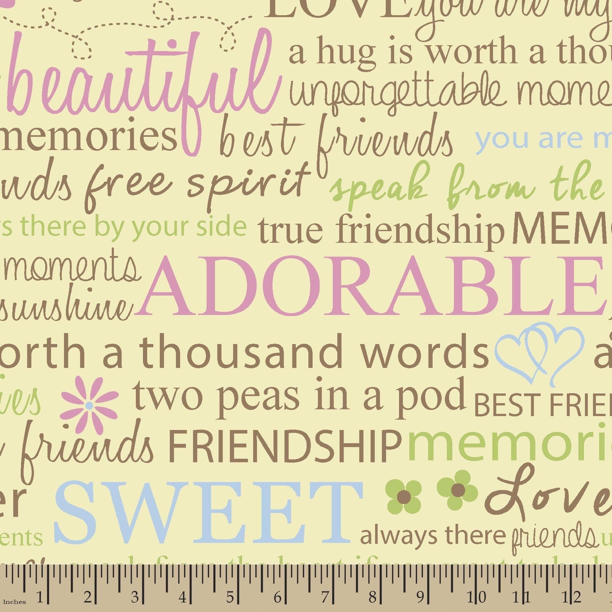 Springs Creative Fleece Friendship Quotes Multi Pastel