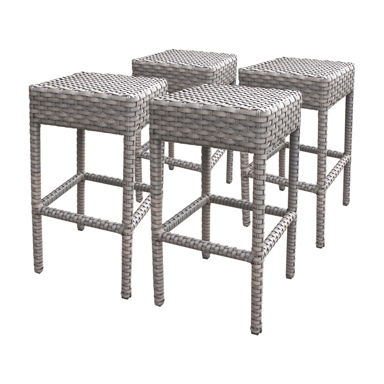TK Classics Florence Wicker Backless Patio Bar Stools