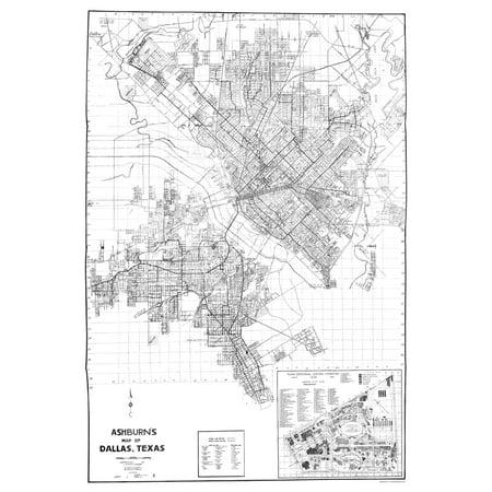 Old City Map - Dallas Texas - Ashburn 1936 - 23 x 33.25 - Halloween Stores In Dallas Texas