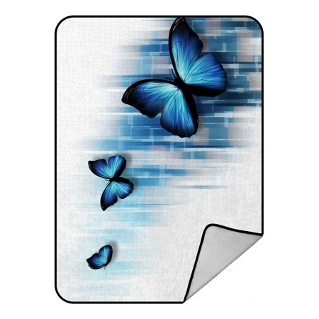PHFZK Abstract Blanket, Three Blue Butterflies Fleece Blanket Crystal Velvet Front and Lambswool Sherpa Fleece Back Throw Blanket (Blue Fleece Blanket)