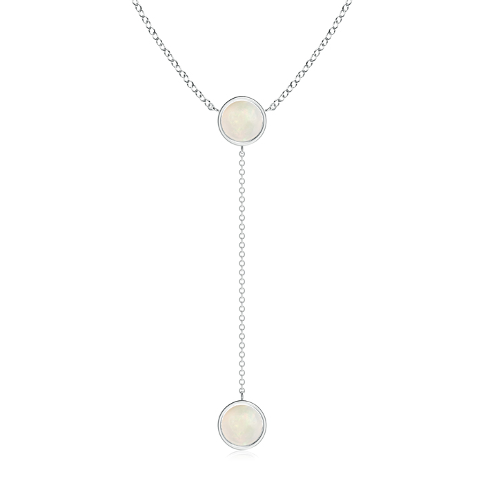 Mother's Day Jewelry Necklace By Yard Bezel-Set Round Cabochon Opal Drop Necklace in 14K White Gold (7mm Opal)... by Angara.com