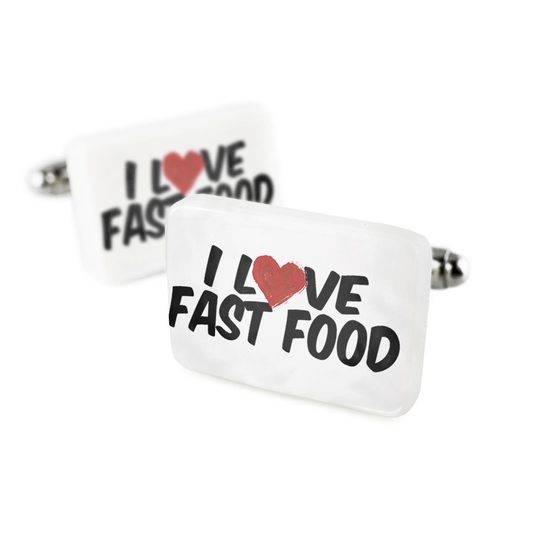 Cufflinks I Love Fast FoodPorcelain Ceramic NEONBLOND