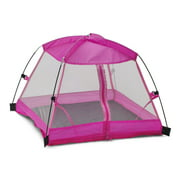 "14 Inch Doll Accessories | Amazing Pink Dining Canopy Doll Camping Tent, includes Matching Carry Case | Fits 14"" American Girl Wellie Wishers Dolls"