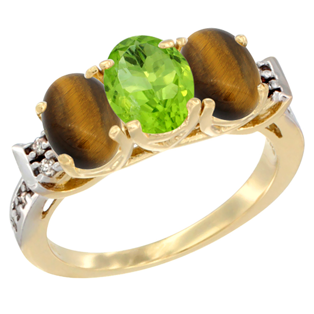 10K Yellow Gold Natural Peridot & Tiger Eye Sides Ring 3-Stone Oval 7x5 mm Diamond Accent, sizes 5 10 by WorldJewels