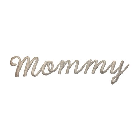 ID 3672 Mommy Word Patch White Mom Letters Name Embroidered Iron On Applique - Mommy Patch Products