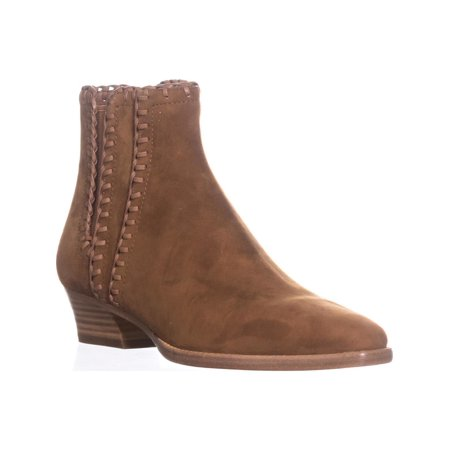 Womens Michael Kors Collection Presley Pull On Stiched Ankle Boots, Dark (Michael Kors Dark Brown Boots)