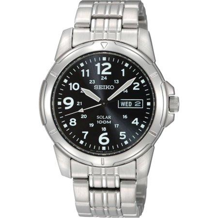 Seiko Men's SNE095P1, Solar Quartz,Stainless steel Case and bracelet,day,date,100m WR,SNE095 ()
