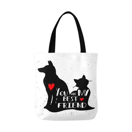 ASHLEIGH Funny Cat and Dog Silhouette You Are My Best Friend Canvas Tote Canvas Shoulder Bag Resuable Grocery Bags Shopping Bags for Women Men