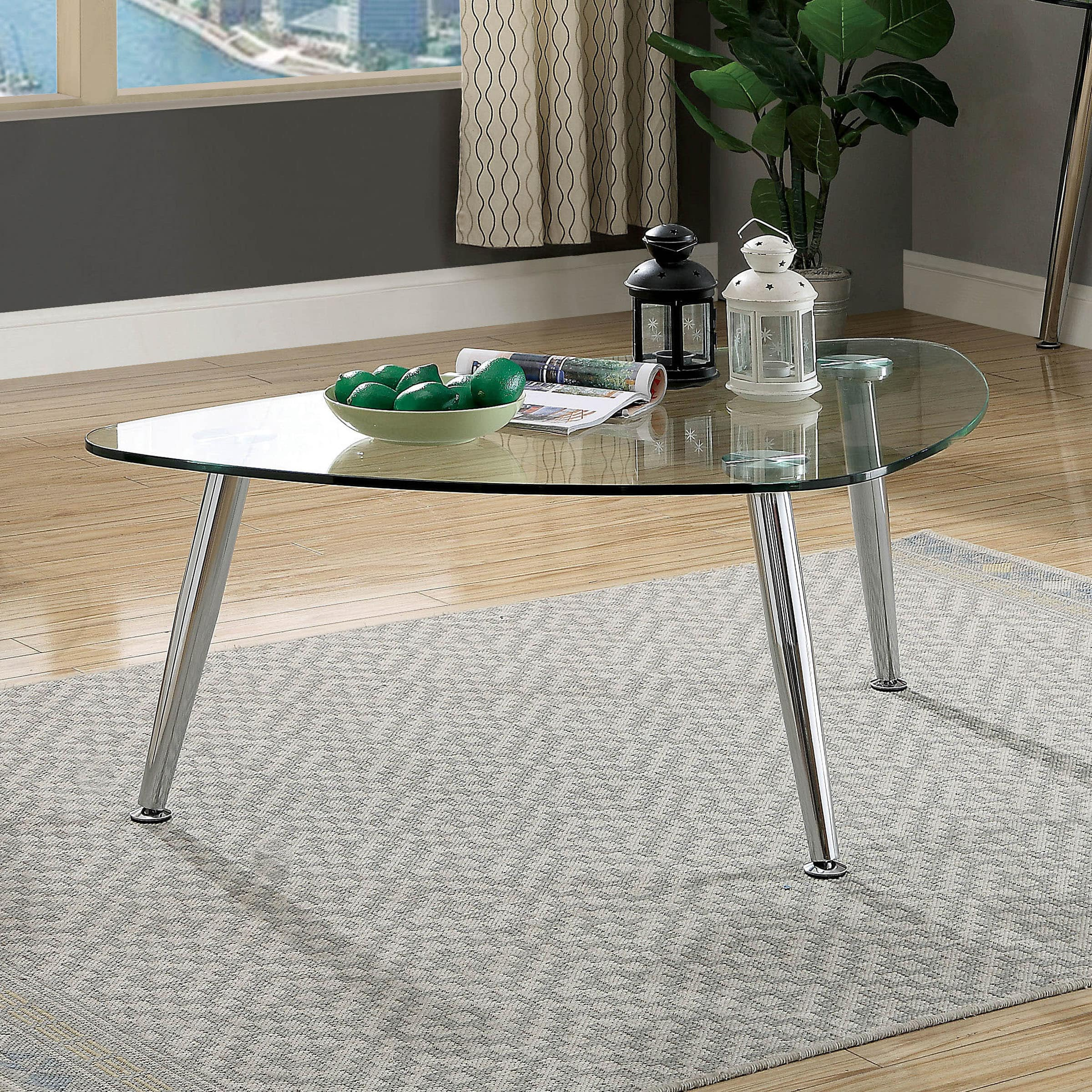 Furniture Of America Leander Contemporary Chrome Coffee Table By FOA