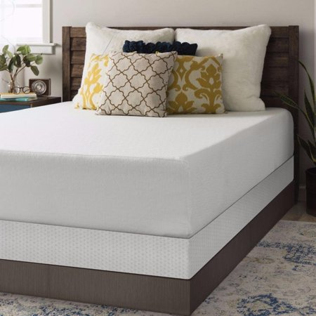 crown comfort queen size memory foam mattress 12 inch with bi fold box spring set. Black Bedroom Furniture Sets. Home Design Ideas