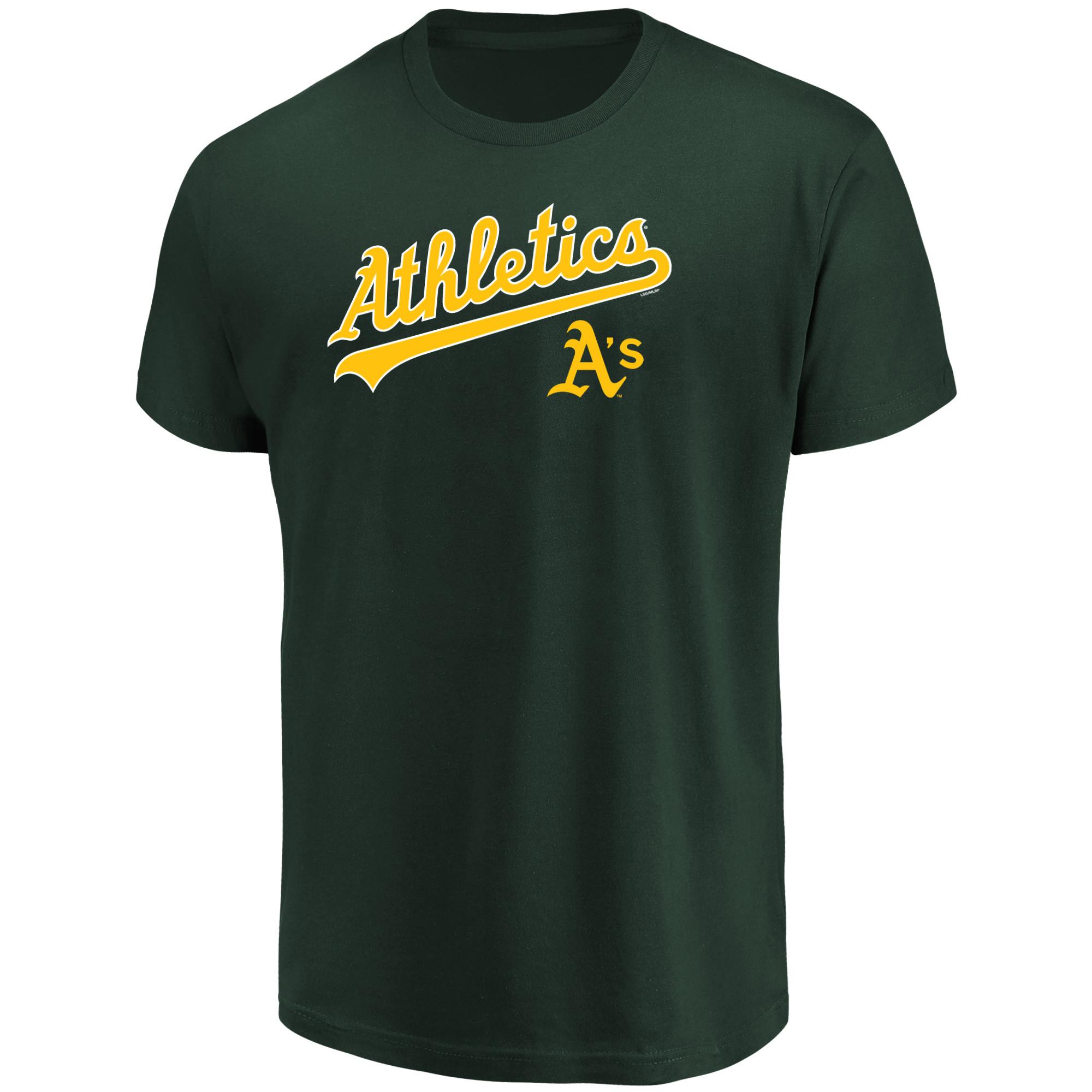 Men's Majestic Green Oakland Athletics Bigger Series Sweep T-Shirt