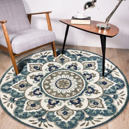 LR Home Hand Tufted Floral Medallion Dazzle Ivory / Teal Wool 4 ft Round Indoor Area Rug Hand Hooked Ivory Wool