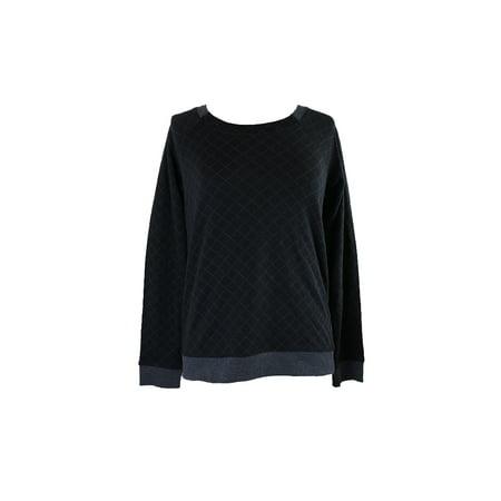 alfani black quilted-style raglan-sleeve pajama top s