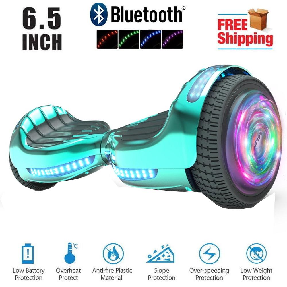 Hoverboard Bluetooth Two Wheel Self Balancing Electric Scooter 6 5 Ul 2272 Certified With Bluetooth Speaker And Led Light Chrome Turquoise Walmart Com Walmart Com