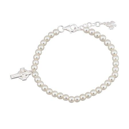 Solvar Communion Pearl Bracelet, Rhodium Plated Charm with Celtic Cross