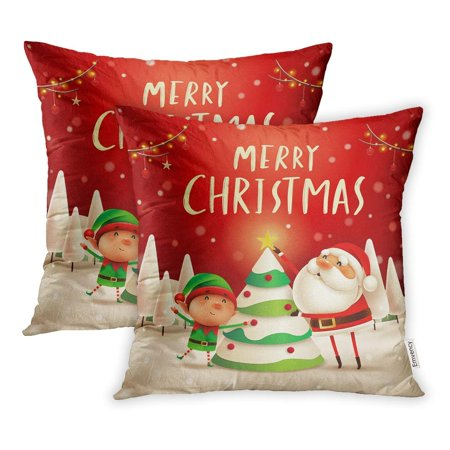 ARHOME Merry Christmas Santa Claus Elf The Tree in Snow Scene Winter Landscape Pillow Case Pillow Cover 16x16 inch Set of 2 - Elf Scenes