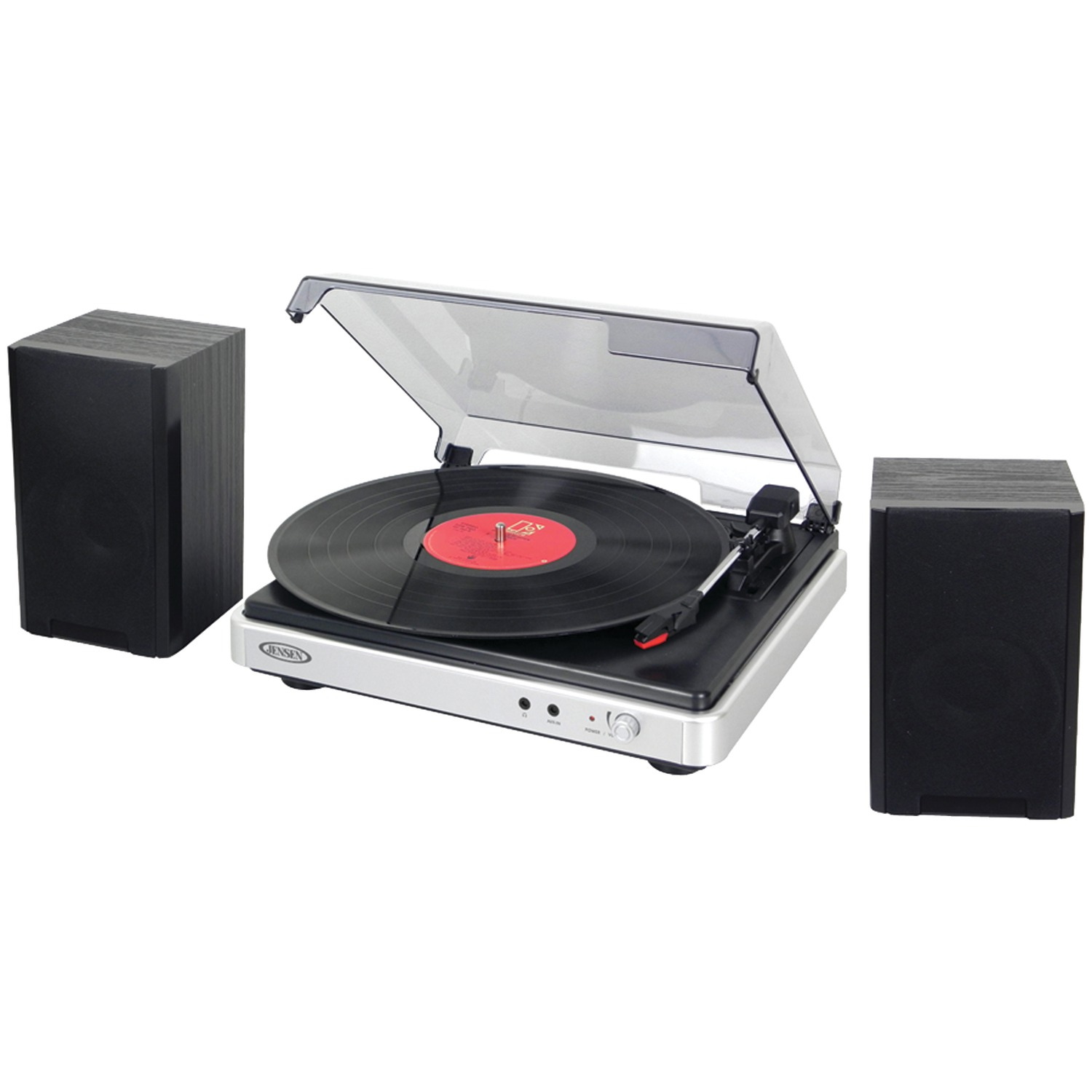 JENSEN JTA-325 3-Speed Turntable with Stereo Speakers