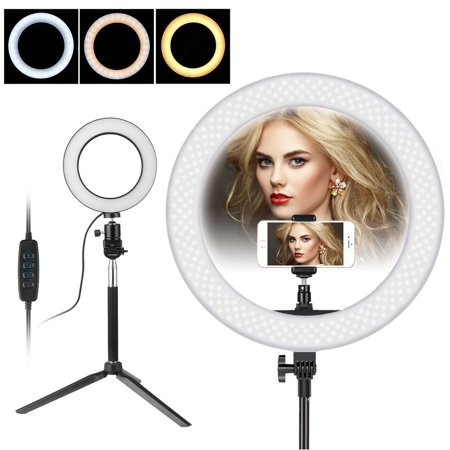 - LED Ring Light and Stand, 5500K Dimmable LED Ring Light, 64pcs LED Bulb, 3-Light Colors LED Ring Light Kit with Light Stand for Makeup, Camera Smart Phone ,YouTube,Self-Portrait Shooting