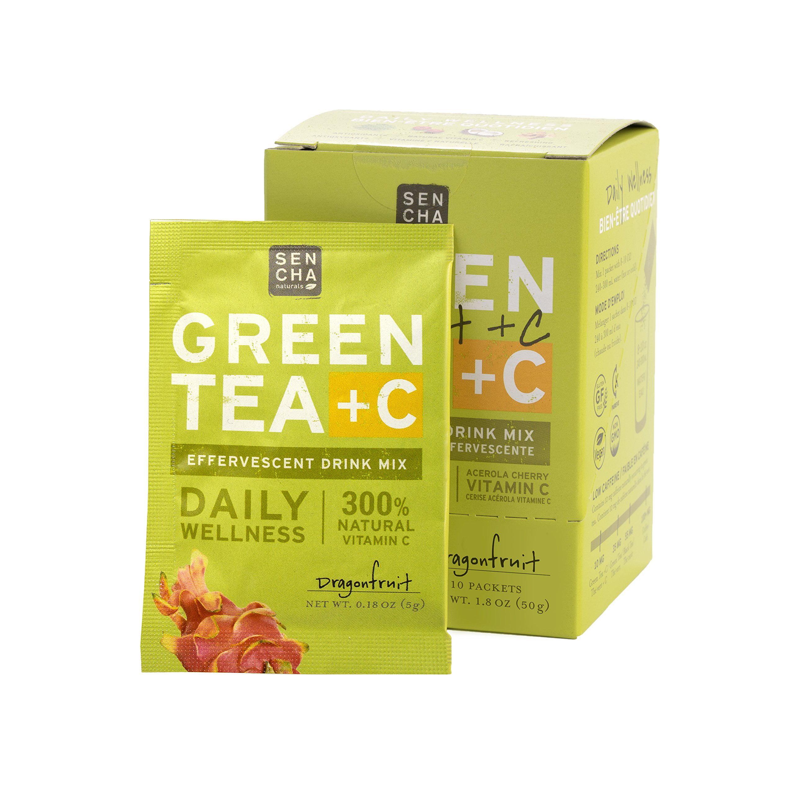 Sencha Naturals Green Tea C Citrus Ginger Box Of 10 Packets Effervescent Drink Powder Mix With Organic Matcha Green Tea Antioxidant Vitamin C Orange Peel Turmeric Ginger Acerola Cherry Walmart Com