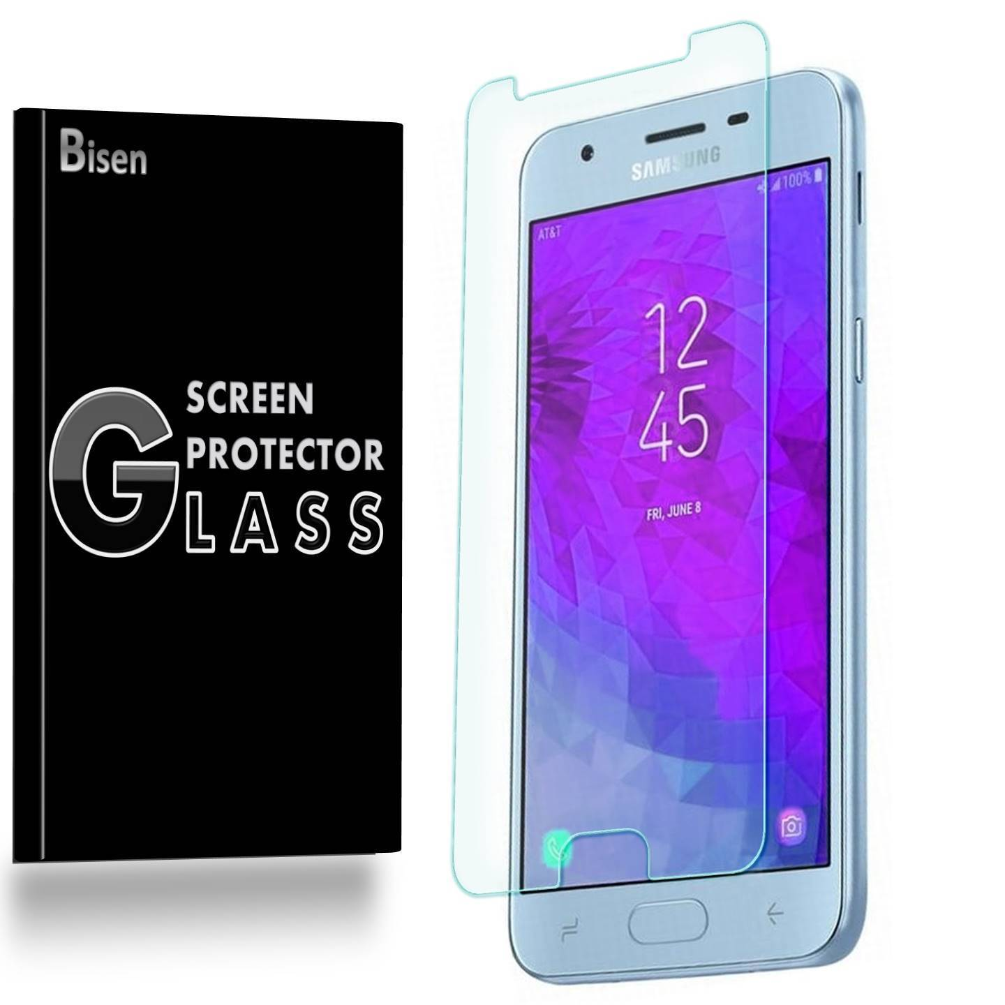 Samsung Galaxy J3 (2018) [3-Pack BISEN] Screen Protector Tempered Glass, 9H Hardness, Anti-Scratch, Anti-Shock, Bubble Free, Shatterproof